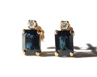 Rectangular Sapphire with Diamonds Post Earrings (1592)