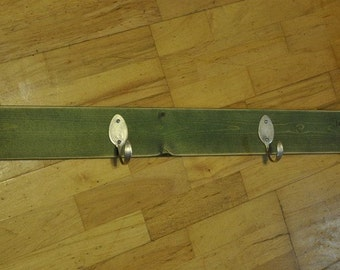 BEAUTIFUL Coat Rack with 4 Hammered Table Spoons Stained Green (36 INCH) Recycled Silverware