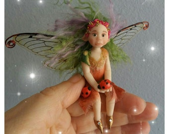 Ooak fantasy miniature Spring fairy,nature spirit,ecology,nature fairy,flower fairies,fairy garden,toothfairy,fairy cottage,pagan art