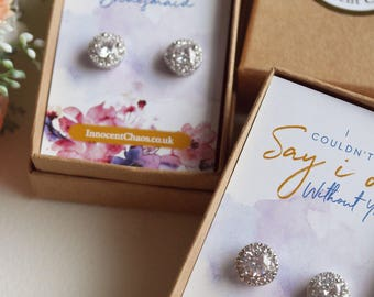 Bridesmaid thank you, stud earrings, wedding accessory, dainty earrings, bridal party gifts, bridesmaid box, bridesmaid proposal