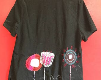 One of a kind Funky Applique and embroidered shirt