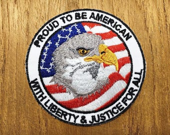 Proud to be American Eagle USA Flag Applique Iron on Patch