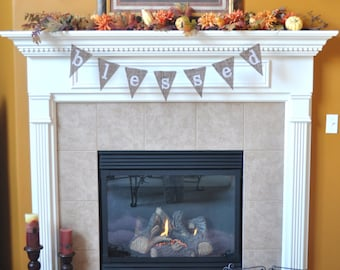 Blessed burlap banner, thanksgiving, fall, home decor; mantel decor, holiday banner, photo prop