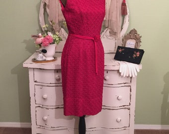 Classy Red Vintage Pencil Dress Sophisticated Wiggle Dress MS-M Elegant Day to Evening Dress