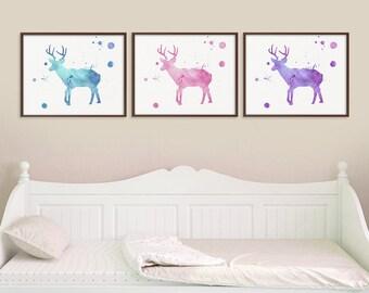 Deer Art Print, Set of 3 Prints, Deer Poster, Deer Wall Decor, Deer Wall Art, Watercolor Deer, Deer Painting, Antlers, Stag, Nursery, Framed