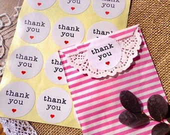 """120 Decorative Adhesive """"Thank You"""" stickers 1.3 inch-8061f"""