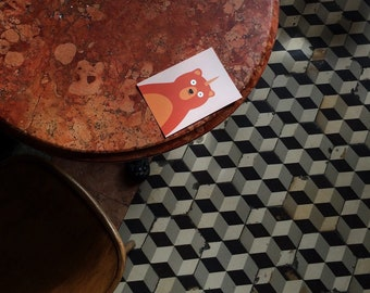 Unicorn Bear postcard, 4.1''x5.8''