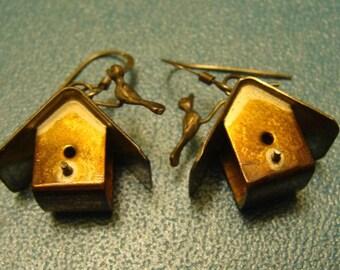 Vintage Metal 3 D Birdhouse Earrings with Bird