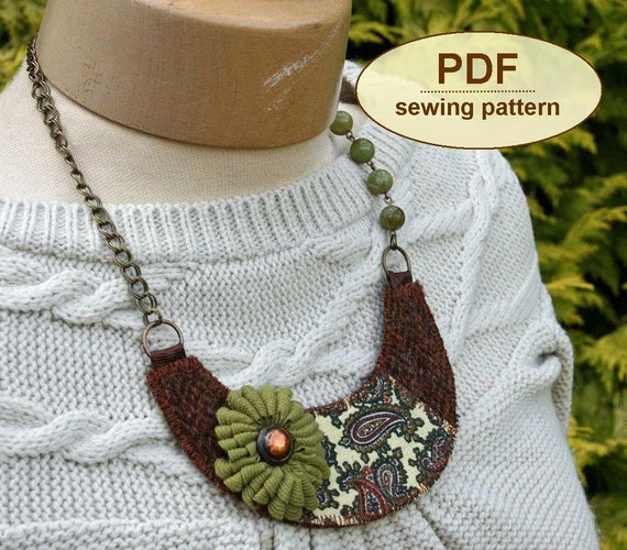 Sewing tutorial PDF with instructions and templates to make the Autumn Windfall Bib Necklace INSTANT DOWNLOAD