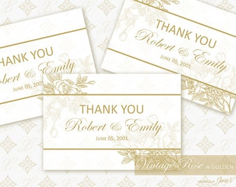 Wedding Printable Thank You Card Download | DIY Wedding Editable Template | Vintage Rose in Golden