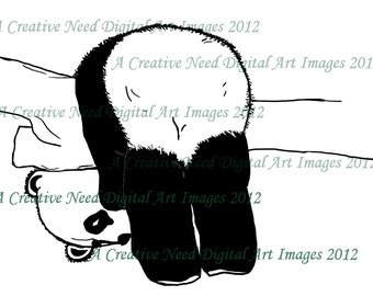 INSTANT Download HANG ON Panda Digital Stamp Image