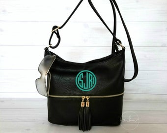 Monogram Medium Black Purse With Tassel - Monogram Purse -Personalized Purse- Monogram Handbag - Monogram Crossbody-Personalized - Crossbody