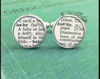 Silver or Brass Cufflinks - Baby and Daddy Dictionary Text - Wearable Art- Handmade by Lisa Owens