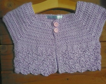 Purple Cropped Cardigan 3-6 months
