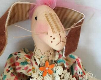 Handmade Bunny Doll, Art Doll Rabbit, Handmade Primitive Bunny, Primitive Rabbit, Dolls Handmade, Bunny Decor, Home Decor, Rabbit Decor, Art