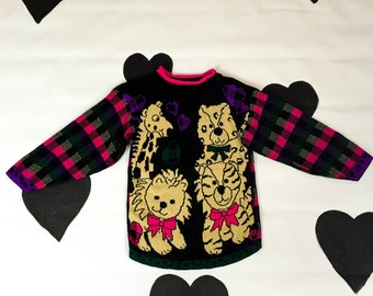80's teddy bear valentine kawaii sweater 1980's candy plaid girl's heart animal knit shirt / cute / lion / tiger / love / kids kitschy S XS