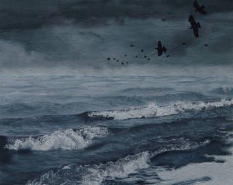 Storm Approaching seascape ocean waves water beach birds landscape original oil painting by Sarah Lynch