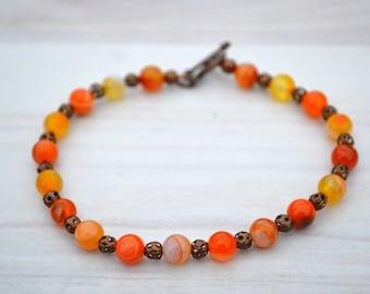 Carnelian bracelet, Beaded carnelian bracelet, Genuine carnelian bracelet, Carnelian jewelry, Carnelian gift, Buy one get one free.