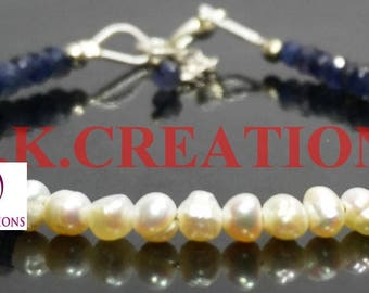 30% Off, Natural Freshwater pearl & iolite Faceted Beads Bracelet, Dainty Tiny Bracelet, 925 Sterling Silver Clasp chain Bracelet