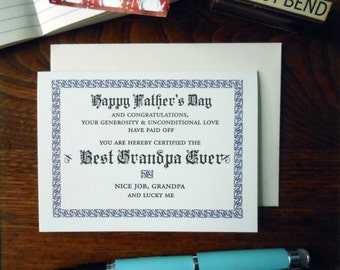 letterpress happy father's day best grandpa ever certificate greeting card navy & black ink
