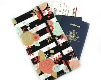 Travel Wallet, passport holder, family travel wallet, travel organizer, passport wallet, document holder - Black and White Stripe Floral