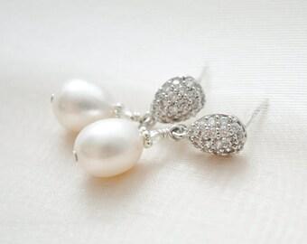 Freshwater Pearl Bridal Earrings Vintage Style, Pearl Wedding Earrings Dangle, Pearl Drop Earrings, Wedding Jewellery