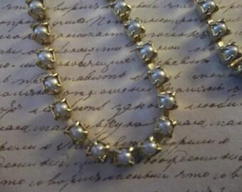 3mm blanc perle coupe - cadre en laiton - verre tchèque perle strass chaine