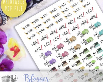 Functional Phrases for Bloggers – PRINTABLE Planner Stickers for Erin Condren, Happy Planner, Personal-Sized Planners, etc