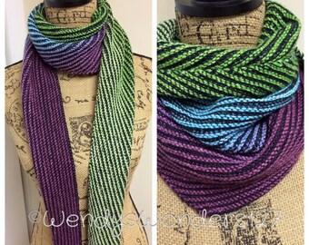 Knitting Pattern, Gradient Striped Scarf, Pattern, Scarf, Instant Download Knit Pattern