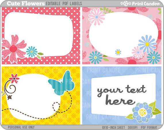 Cute Tags: Rectangle Editable PDF 8x10 Cute Flowers Labels No. 221