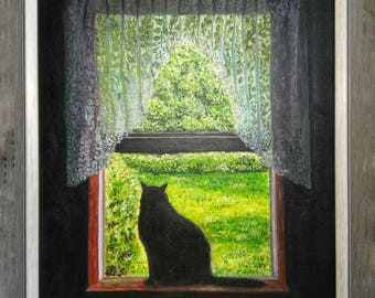 contemplator acrylic art and collecting cats dogs paintings
