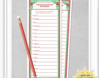 Instant Download Christmas WORD Scramble Game, game for your Christmas Celebrations, ANSWERS included, diy PRINTABLE