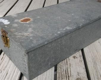 GALVANIZED METAL BOX,Vintage Storage,Industrial Storage,Galvanized Storage Box w Hinged Lid,Industrial,Long Metal Box,Tool Box,Rustic Box