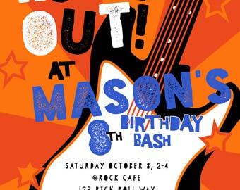 Rock Star Birthday Invitations, Rock and Roll Invite, Guitar, Boy, Modern Birthday Party Invite, Custom Birthday Invitation