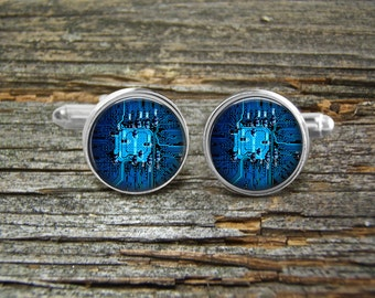 Circuit Board Computer Blue Cufflinks -Wedding-Cufflink Box-Jewelry Box-Silver-Keepsake-Gift-Man gift-Graduation-Fathers Day-Men-Science