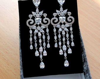 Bridal earrings Crystal Wedding earrings Bridal jewelry Drop Dangle earrings Silver earrings Bohemian jewelry Chandelier earrings Teardrop j