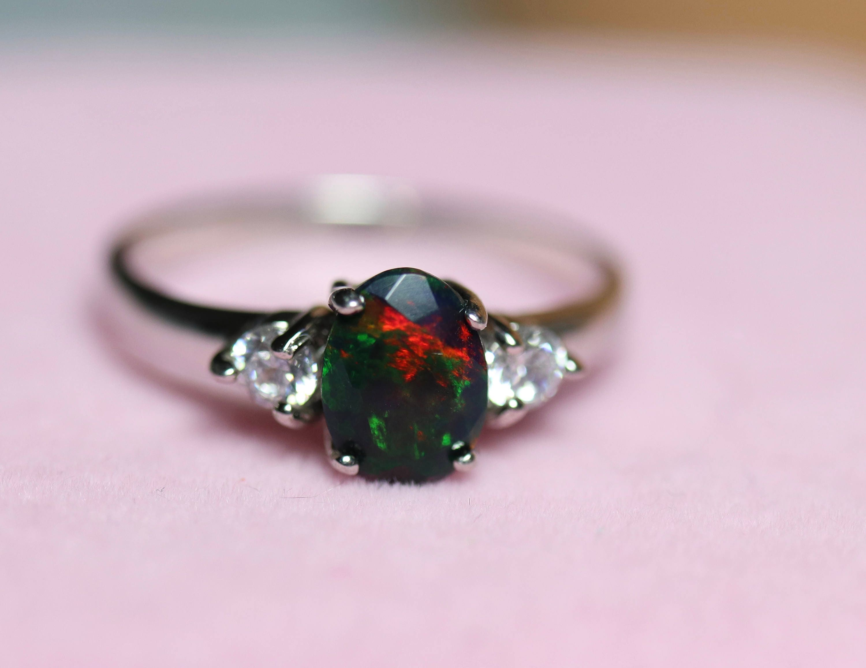 Black Opal engagement ring, CZ accented delicate ring, natural Opal ...