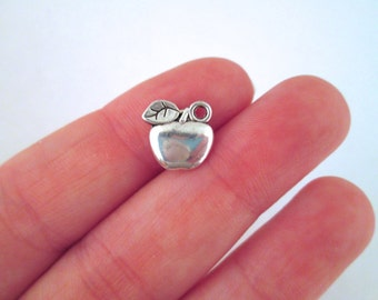 12 Silver Apple Charms, Fruit Charms Double Sided, D37