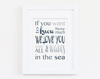 Nautical Nursery Art Print - If You Want to Know How Much We Love You Count All the Waves in the Sea Art Quote - Navy Nursery - Download