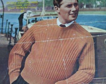 Men Raglan Sweater Knitting Pattern Sizes 38 / 40 / 42 Sirdar 1572 DK Weight Yarn Vintage Paper Original NOT a pdf
