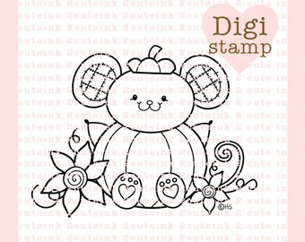 Pumpkin Mouse Digital Stamp - Fall Stamp - Digital Fall Stamp - Mouse Art - Mouse Card Supply - Fall Craft Supply