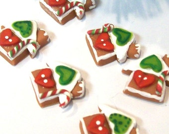 Six Heart Houses, Micro Ornaments, Christmas Dollhouse, Tiny Cookies, Token Gifts, 3D Sculpture, 12th Scale, Holiday Decor, Tree Trimmings