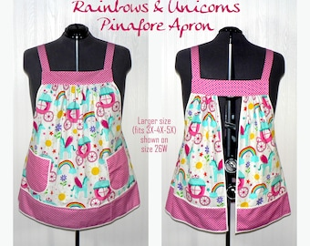 Rainbows & Unicorns Pinafore Apron, no tie apron, party all day apron, made-to-order XS -Plus Size, loose fitting smock great for maternity