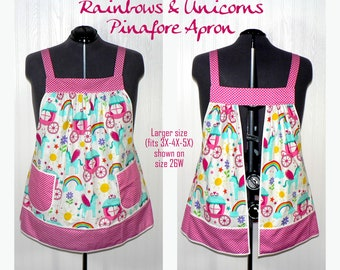 Rainbows & Unicorns Pinafore Apron, no tie apron, party all day apron, made-to-order XS -Plus Size, loose fitting smock, Unicorn Party Apron