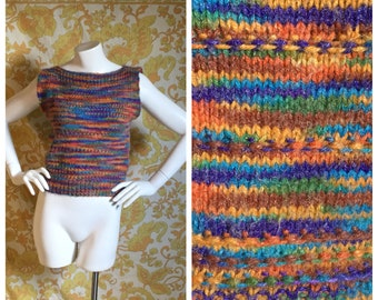 70s 80s Vintage Cropped Rainbow Pullover Sweater Small Medium Large