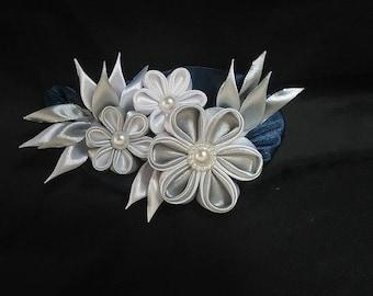 Kanzashi brooch, Fabric brooch, Flower brooch, White and grey pin, Fabric flower pin