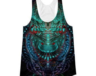 Ascension ,  womens  tanktop ,Owl  top ,singlet , Sacred geometry , nature , rave , bird , dance clothes , Psy ,Festival, flower of life