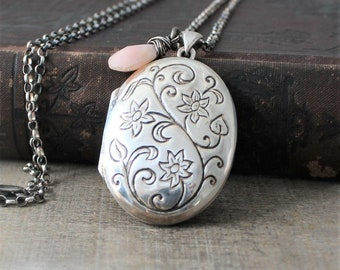 Large Silver Locket, Poetry Jewelry, Sterling Silver Locket Necklace, Literary Gift for Her, Pink Opal Locket October Birthstone Locket
