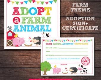 Farm Birthday Party, Farm Birthday Decorations, Farm first birthday, Pet adoption party, Adoption certificate, Farm sign, Instant download