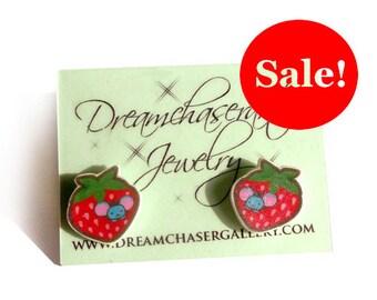 strawberry mouse cute earring set kawaii